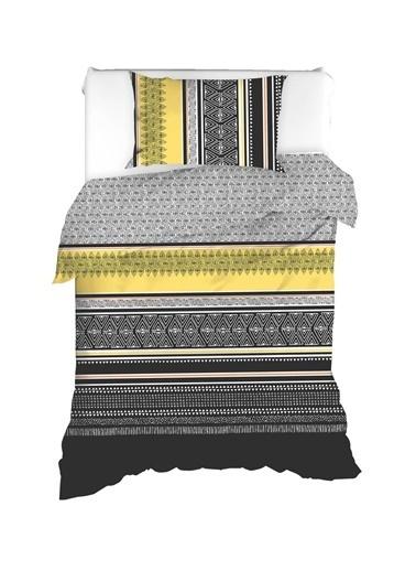 EnLora Home %100 Doğal Pamuk Nevresim Seti Tek Kişilik Formas Sarı-Siyah Sarı